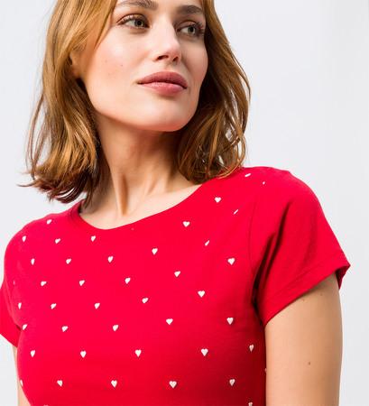 T-Shirt mit Stickerei in fresh red
