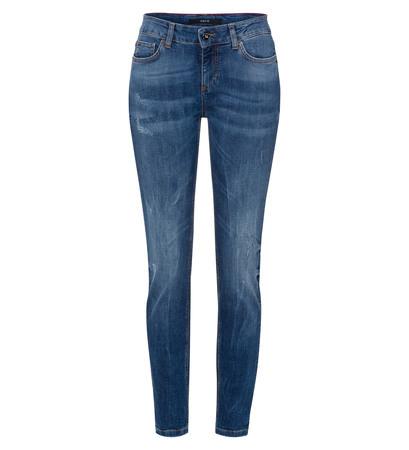 Jeans mit Stitching 30 Inch in blue denim destroy