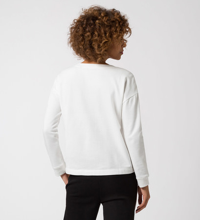 Jersey Sweater mit Pailletten in offwhite