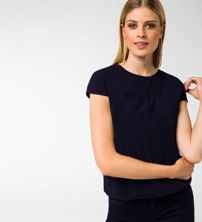 Bluse im unifarbenen Design in blue black