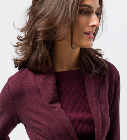 Jersey Cardigan mit Revers in grape red