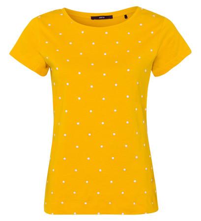 Jersey-Top mit eingestickten Punkten in safran yellow