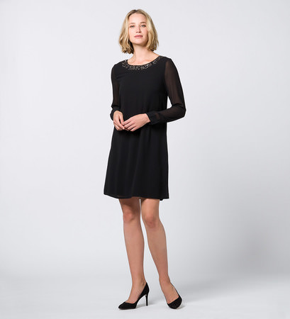 Kleid mit Perlenstickerei in black