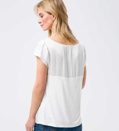 Blusenshirt im Materialmix in offwhite