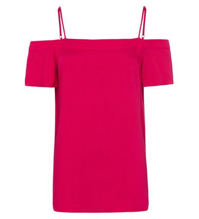 Bluse mit Carmenausschnitt in bright pink