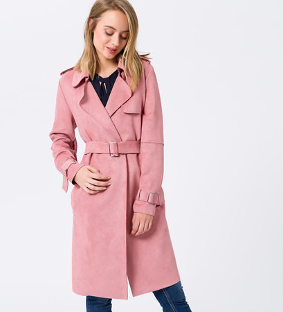 Mantel im Trenchcoat-Look in violet rose