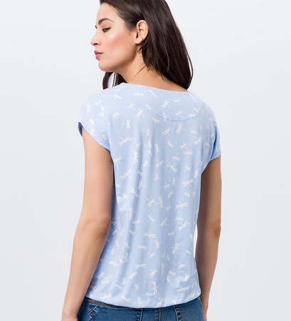 Shirt mit Allovermuster in horizon blue