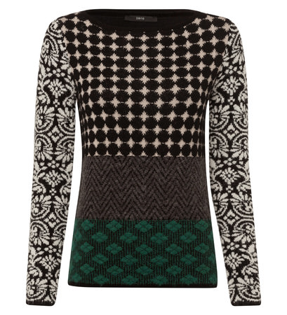 Pullover mit Patchwork-Muster in black