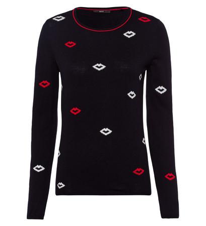 Pullover mit Kussmund-Design in blue black