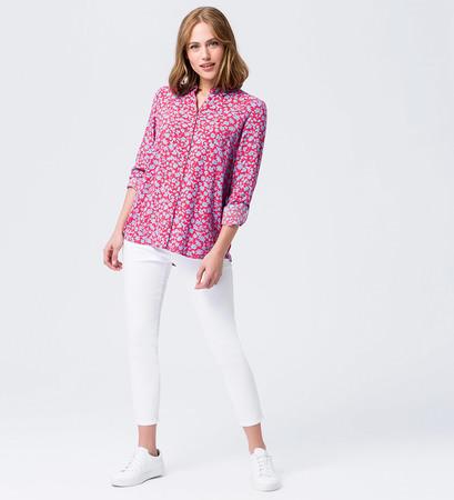Bluse mit floralem Print in hot coral