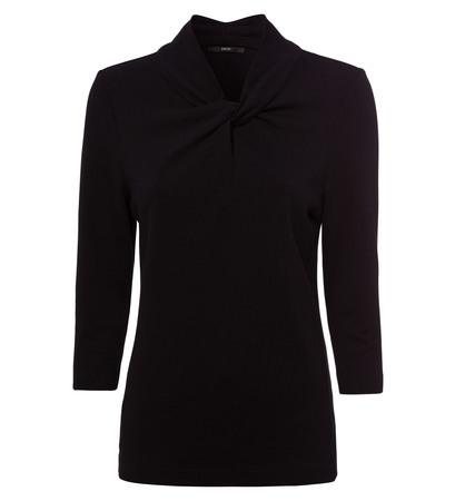 Shirt mit Knotendetail am Ausschnitt in black