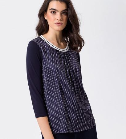 Bluse mit Streifenbündchen in blue black