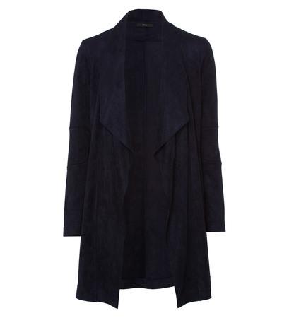 Jersey Cardigan in Velours-Optik in blue black