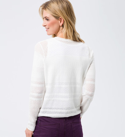 Cardigan in Ajourstrick-Optik in soft white