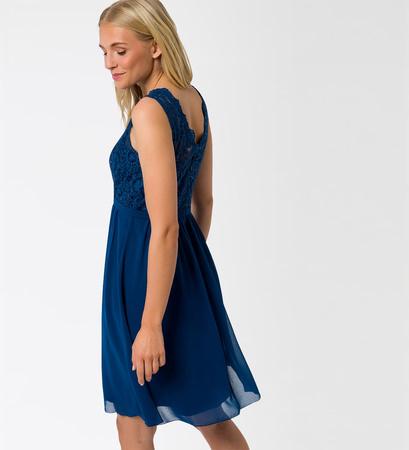 Kleid mit Stickerei in pacific blue
