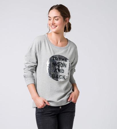 Sweater mit Wende-Pailletten in light grey melange