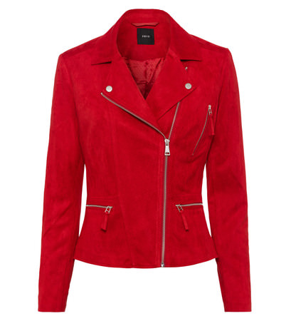 Jacke im Velours-Look in chili red