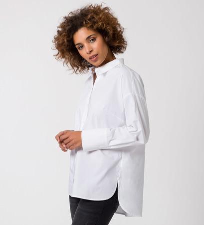 Bluse mit Hemdkragen in white