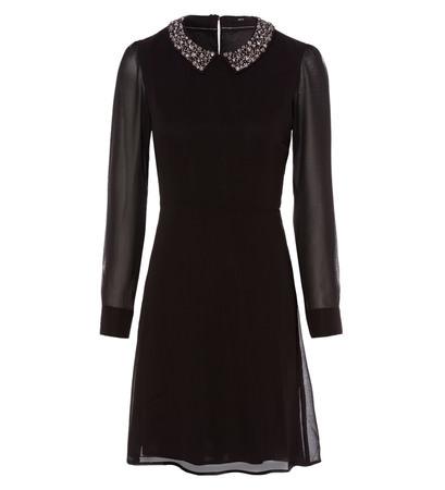 Kleid mit Schmucksteinverzierungen in black