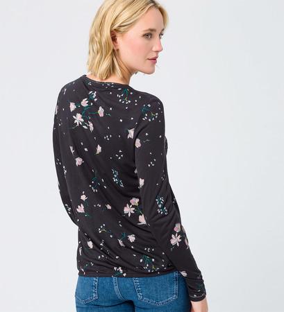 Shirt mit Print und Glitzer in black