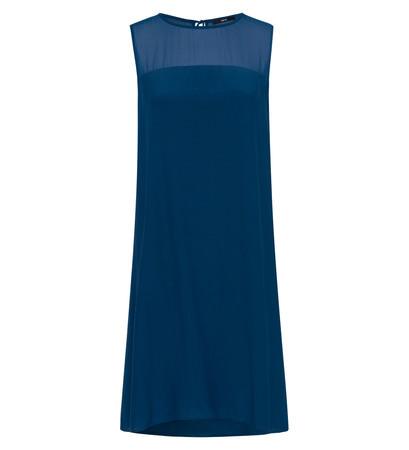 Kleid mit Einsatz aus Chiffon in pacific blue