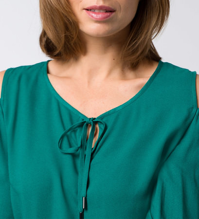 Bluse mit Cut-outs und Volants in ivy green