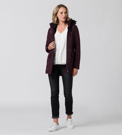 Mantel im Glanz-Look in plum