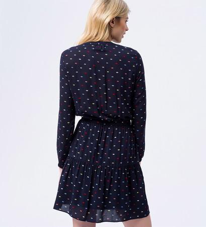 Kleid mit Schleife am Kragen in blue black