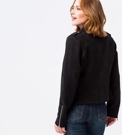 Jacke aus Wildlederimitat in black