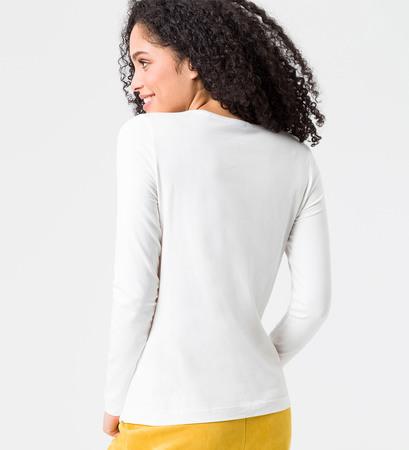 Shirt mit V-Ausschnitt in offwhite