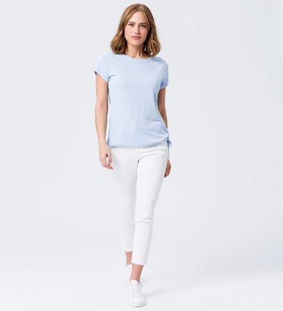 Shirt mit Tunnelzug am Bund in horizon blue