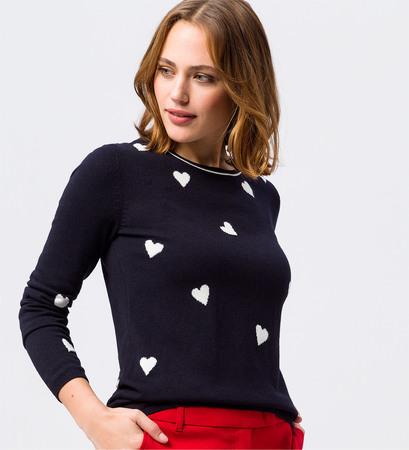 Pullover mit Herzen in blue black