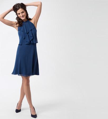 Kleid mit amerikanischem Ausschnitt in pacific blue