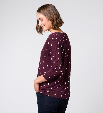 T-Shirt mit Punktemuster in plum