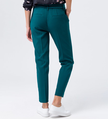 Hose mit Paperbag-Bund in dark teal