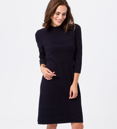 Kleid mit gestreifter Strickstruktur in blue black