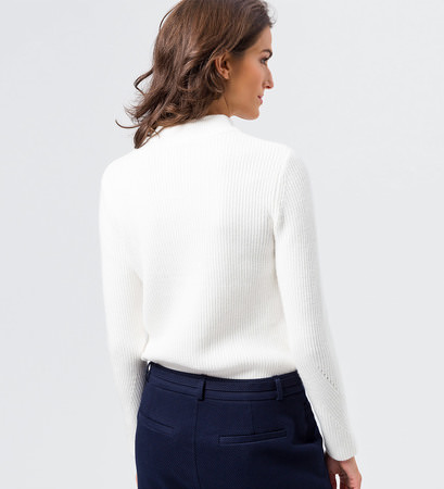 Pullover im Rippstrick-Look in wool white