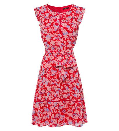 Kleid mit Blumenmuster in hot coral