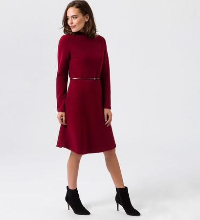 Kleid mit Rippstruktur in wine red