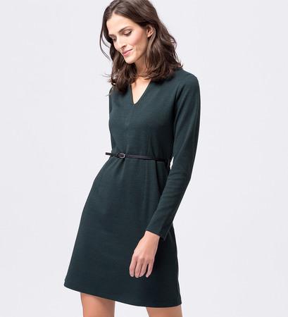 Kleid mit Gürtel in dark teal