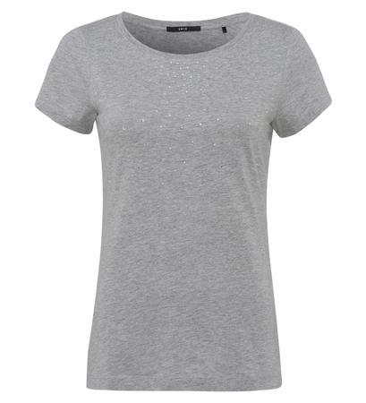 T-Shirt mit Strasssteinen in silver grey
