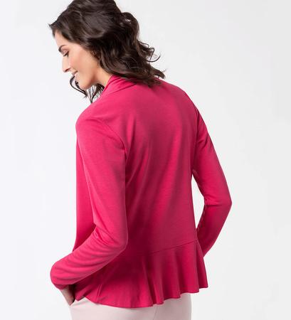 Jersey Cardigan mit Schalkragen in bright pink