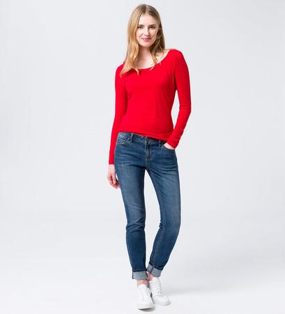Langarmshirt mit Rundhalsausschnitt in fresh red