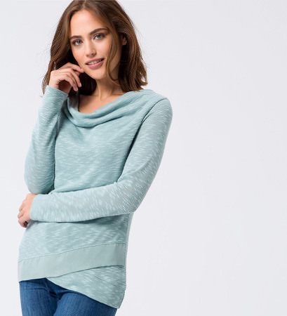 Jersey Sweater im Lagen-Look in light jade