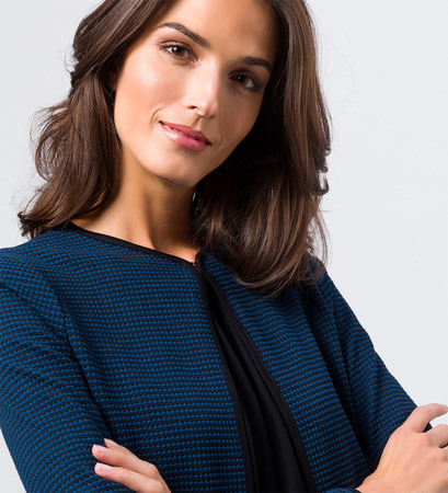 Jersey Cardigan mit Minimal-Muster in petrol blue