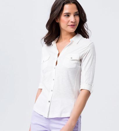 Shirt mit Hemdkragen in soft white