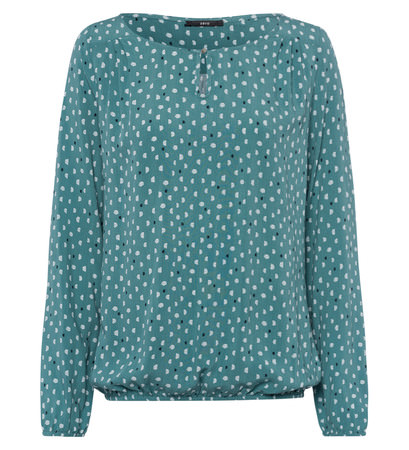 Bluse mit Punkteprint in dusk jade