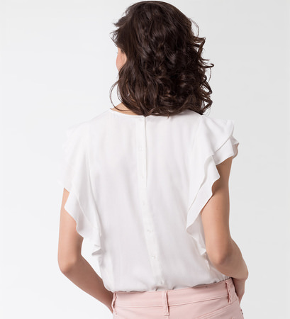 Bluse mit Volants in offwhite