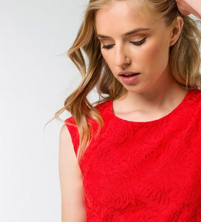 Kleid mit Spitze in orange red