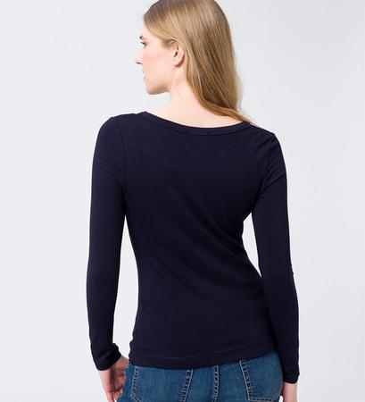 Langarmshirt mit Rundhalsausschnitt in blue black